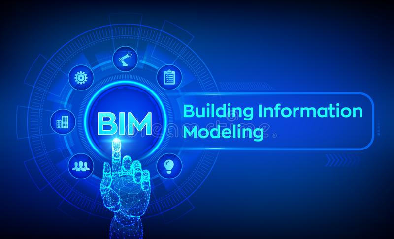BIM. Building Information Modeling Technology concept on virtual screen. Business Industry, Architecture and Construction concept royalty free illustration