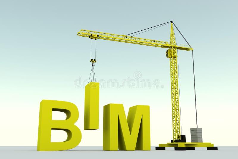 BIM concept building. Crane white background 3d illustration royalty free illustration
