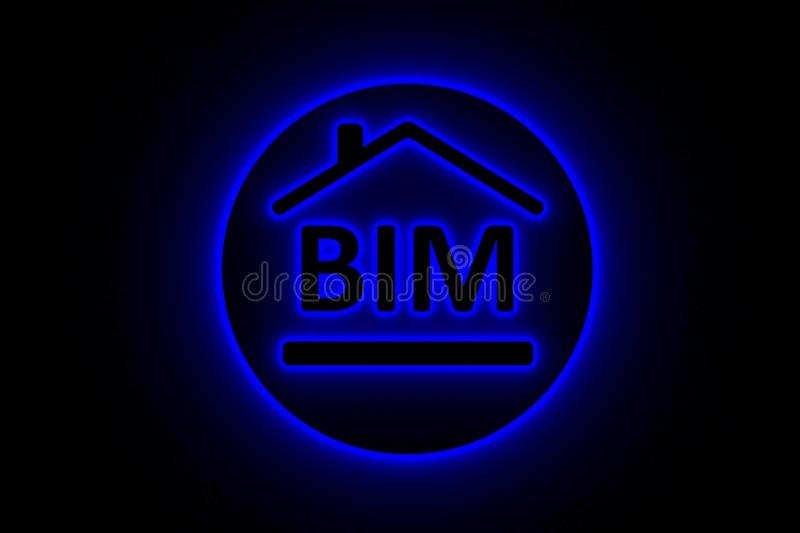 BIM concept neon glow vector illustration