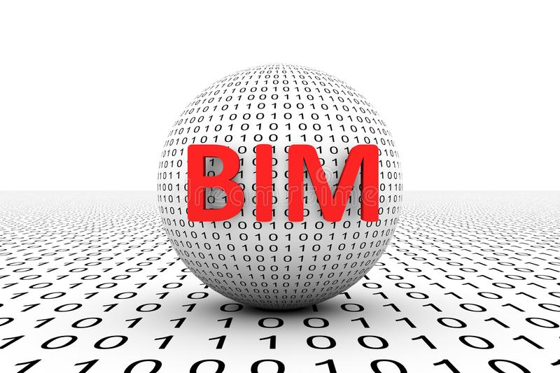 BIM conceptual sphere. Binary code 3d illustration stock illustration