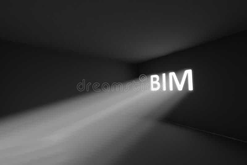 BIM rays volume light concept. 3d illustration royalty free illustration