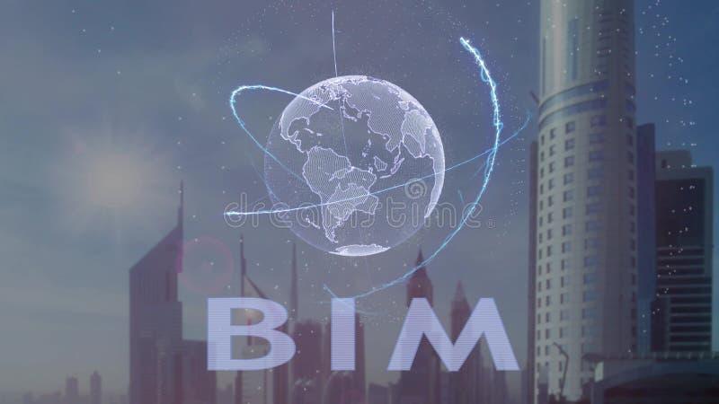 BIM tekst z 3d hologramem planety ziemia przeciw t?u nowo?ytna metropolia royalty ilustracja
