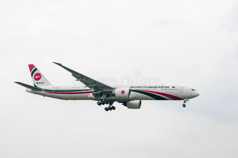 LONDON, ENGLAND - SEPTEMBER 27, 2017: Biman Bangladesh Airlines Boeing 777 S2-AFP landing in London Heathrow International Airport. Biman Bangladesh Airlines stock images