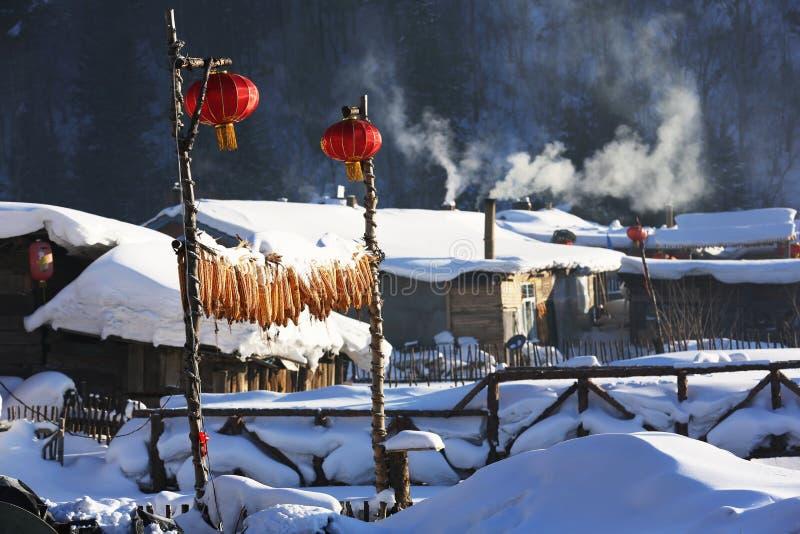 Bimodal lasu gospodarstwo rolne w Heilongjiang prowinci - Śnieżna wioska zdjęcia stock