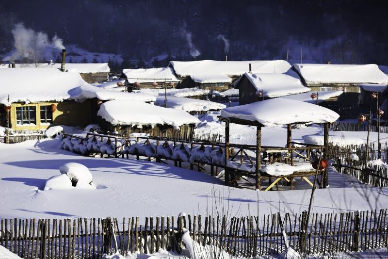 Bimodal lasu gospodarstwo rolne w Heilongjiang prowinci - Śnieżna wioska zdjęcia royalty free