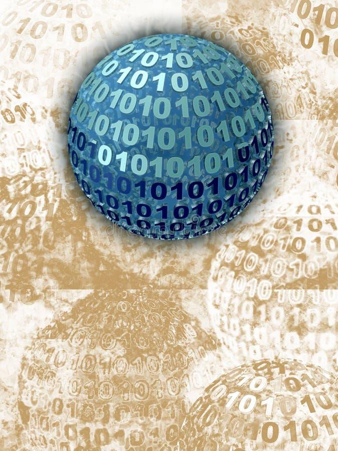 binär blå sphere royaltyfri illustrationer