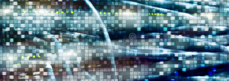 Binär Code auf datacenter Hintergrund Cyberraumkonzept UniqueTechnology-Tapete stockfotografie