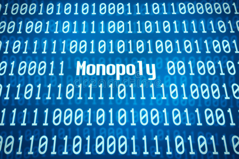 Binär Code mit dem Wort Monopol stockbild
