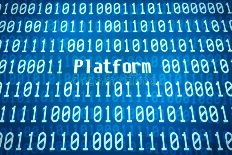 Binär Code mit der Wort Plattform stockbild