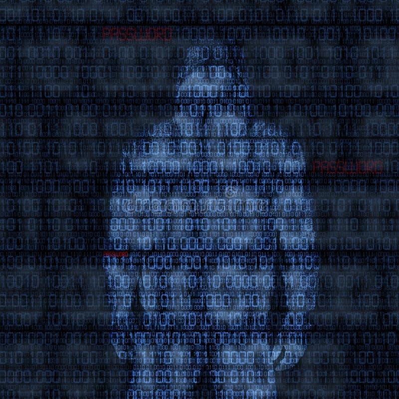 Binär Code mit zerhacktem Passwort stock abbildung