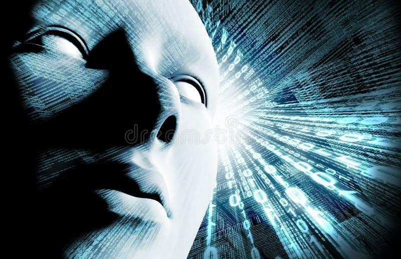 Binär Code und Gesicht lizenzfreie abbildung