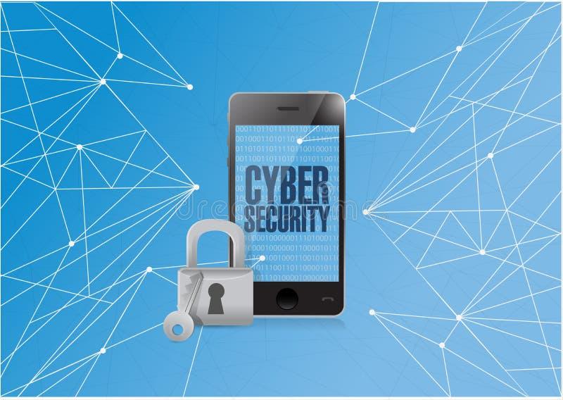 binär cybersäkerhet ilar telefonen stock illustrationer