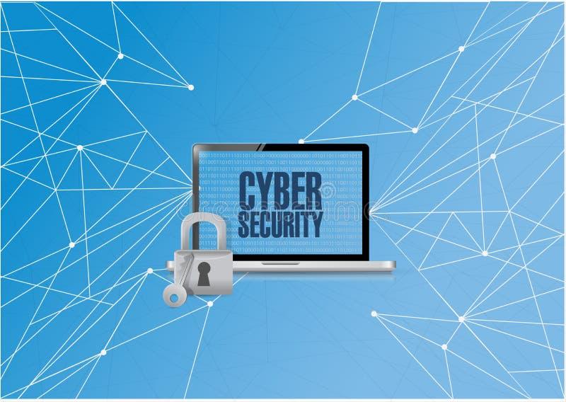 binär dator för cybersäkerhet stock illustrationer