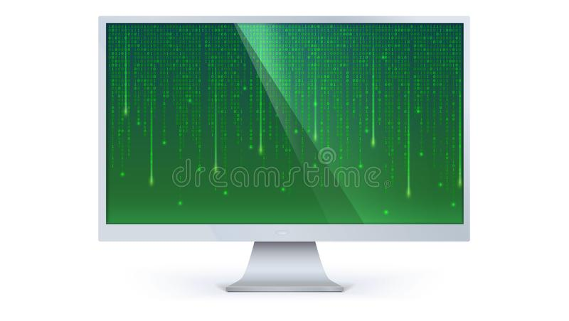 Binär datorkod av matrisen på datorskärmen som isoleras på vit bakgrund Data mönstrar med noll och en mall vektor illustrationer