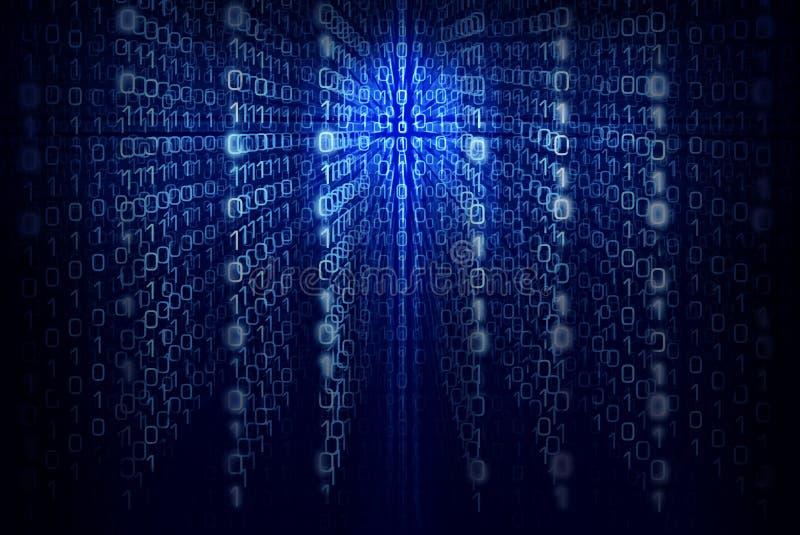 Binär datorkod - blå abstrakt bakgrund