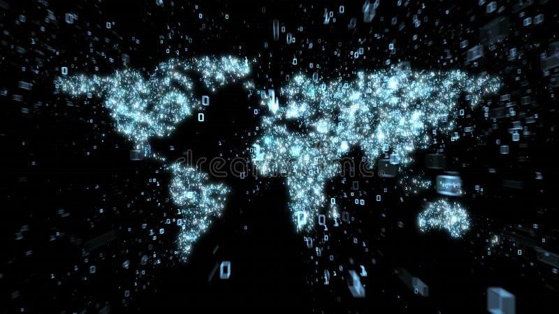 Binär explosion av data runt om världskartan som illustreras som digital strömkrets stock illustrationer
