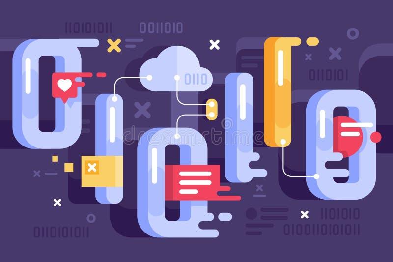Binär framställning i världen av data stock illustrationer