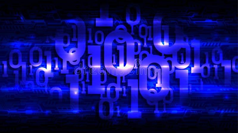 Binär kod för blå matris på mörk bakgrund av det abstrakta strömkretsbrädet, digital kod i abstrakt futuristisk cyberspacemolnlag royaltyfri illustrationer