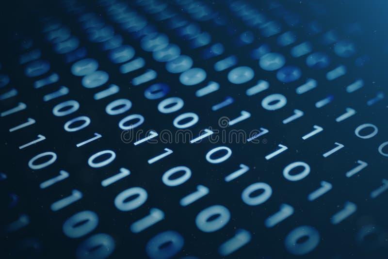 binär kod för illustration 3D på blå bakgrund Byte av den binära koden bruk för bakgrundsbegreppsteknologi binär svart blå mörk d royaltyfri illustrationer