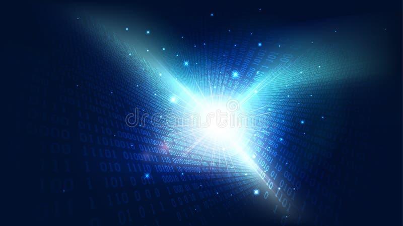 Binär kod i abstrakt futuristisk cyberspace, kod för glänsande blå bakgrund för matris digital, stora data, maskinlärande teknolo stock illustrationer