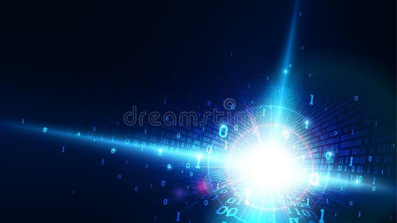 Binär kod i abstrakt matriscyberspace, skinande blå bakgrund med den digitala koden, konstgjord intelligens, stora data, moln royaltyfri illustrationer