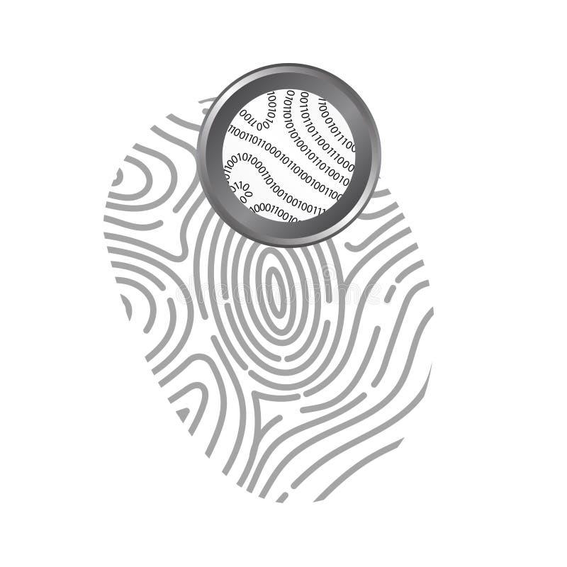 Binär kod i fingeravtryck på vit bakgrund vektor illustrationer