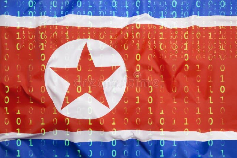 Binär kod med den Nordkorea flaggan, begrepp för dataskydd arkivbild