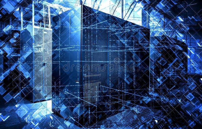 Binär kod och pressade ut kaotiska kuber på bakgrund av moderna datorhallserveror, begreppet av modern informationsteknik vektor illustrationer