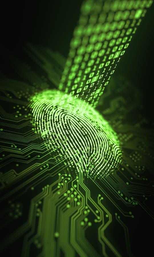 Binär mikrochips för fingeravtryck vektor illustrationer