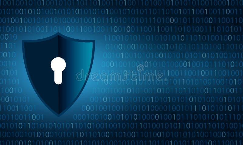 Binär sköldsäkerhet och dataavskildhetsskydd skyddar och låser över bakgrund för binära siffror stock illustrationer