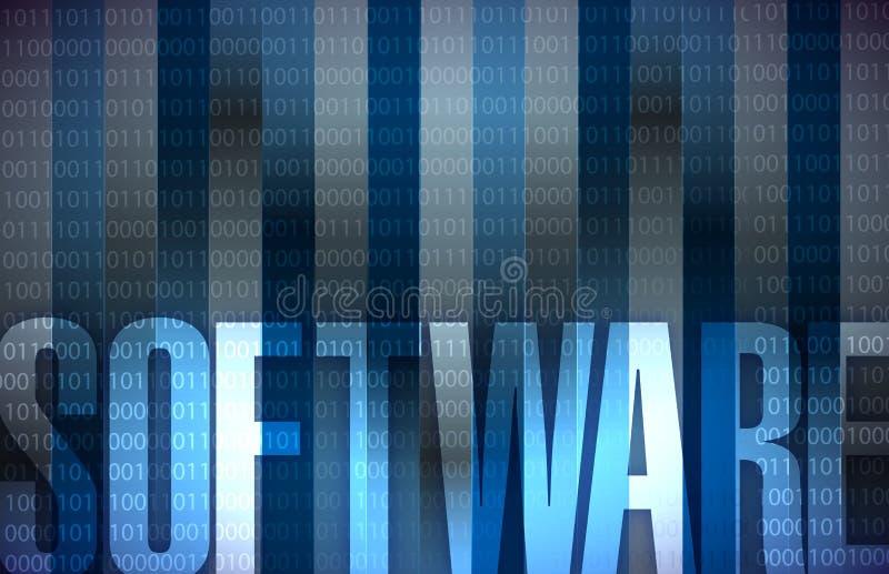 Binära blått för bakgrund för programvaruteknologi royaltyfri illustrationer