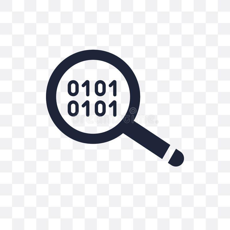 Binära data söker den genomskinliga symbolen Sökandesymbol D för binära data royaltyfri illustrationer