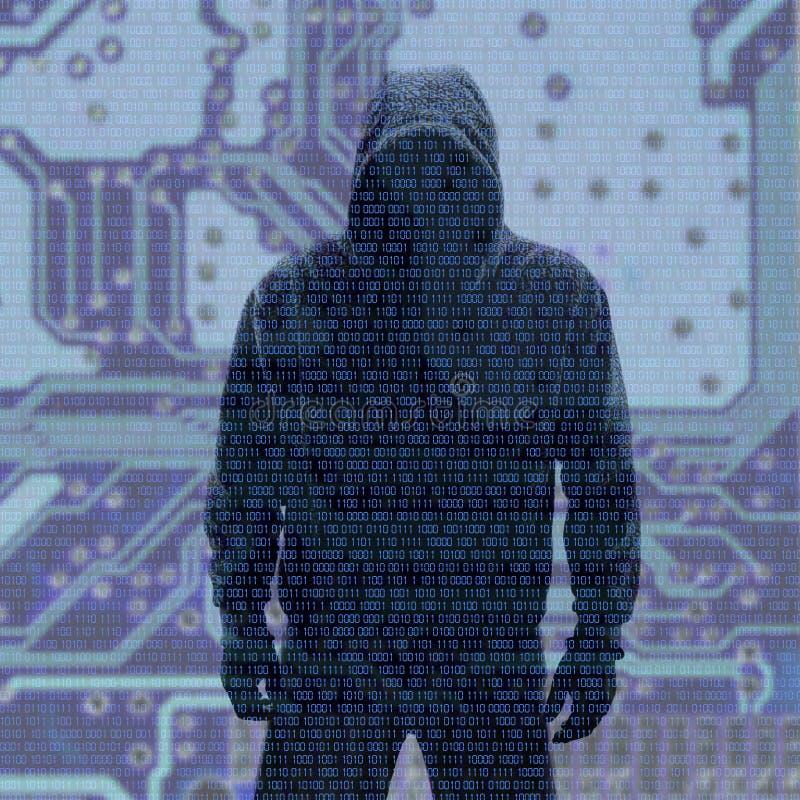 Binära koder med hackat lösenord stock illustrationer