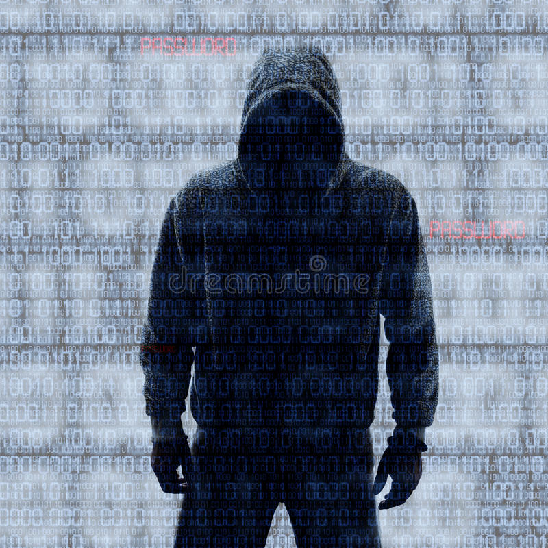 Binära koder med hackat lösenord vektor illustrationer