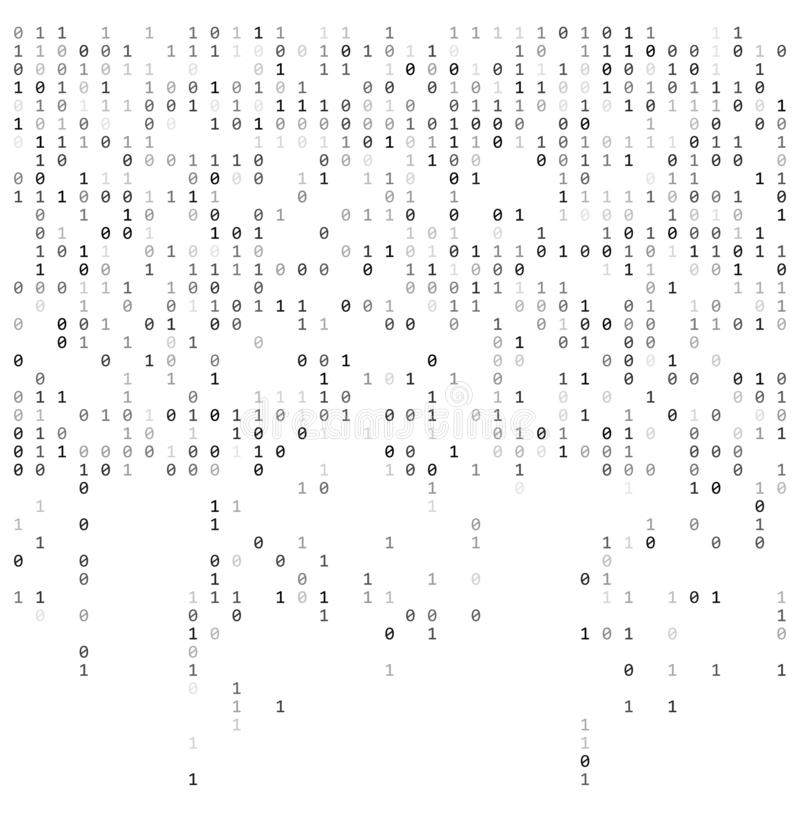 Binäre fallenden Zahlen wie Matrix 0,1 Stellen auf weißer Hintergrundschablone vektor abbildung