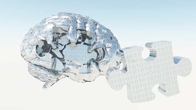 Binärer Brain Puzzle stock abbildung