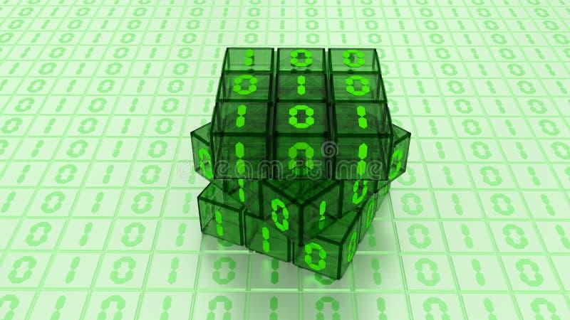 Binärer magische Würfel-Kasten Digital im grünes Glas-Weiß-Hintergrund lizenzfreie abbildung