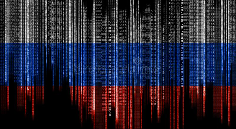 Binärer Systemcode in den Farben der russischen Flagge lizenzfreie abbildung