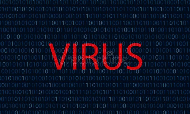 Binäres Blau der Computervirus-Konzeptbinär code-Hintergrund Virus des Wortes rote lizenzfreie abbildung