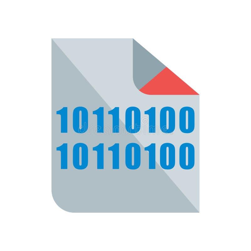 Binäres Ikonenvektorzeichen und -symbol lokalisiert auf weißem Hintergrund stock abbildung