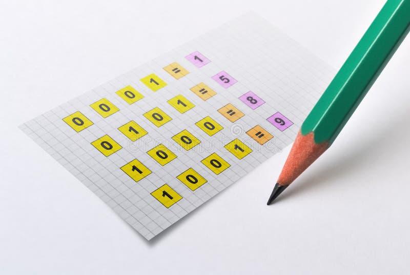 Binärt nummersystem royaltyfri illustrationer