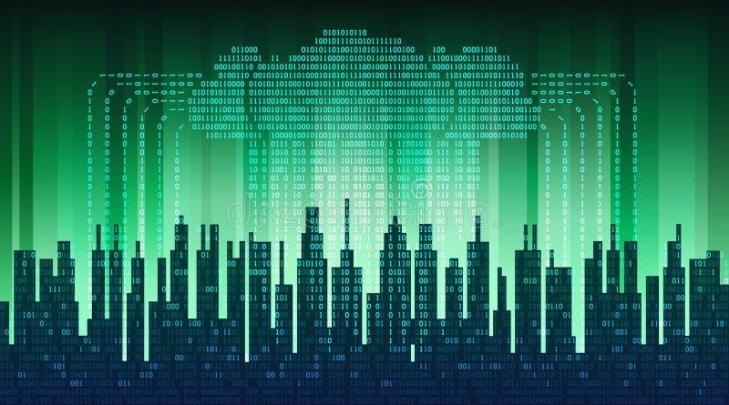 Binärt regn i digital abstrakt stad, flödet av data med molnet, tekniskt avancerad bakgrund vektor illustrationer