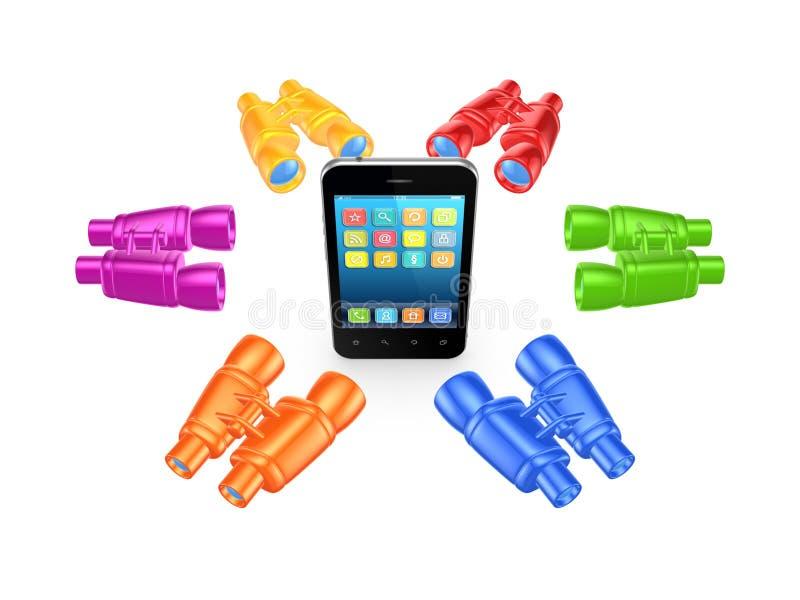 Binóculos coloridos em torno do telefone celular. ilustração stock
