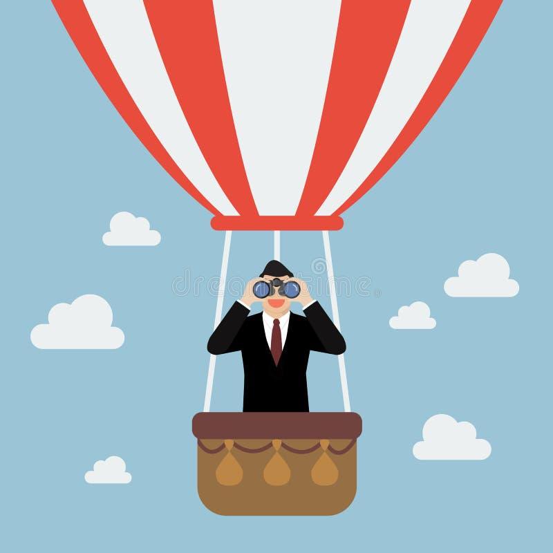 Binóculos do uso do homem de negócios que procuram o negócio ilustração royalty free