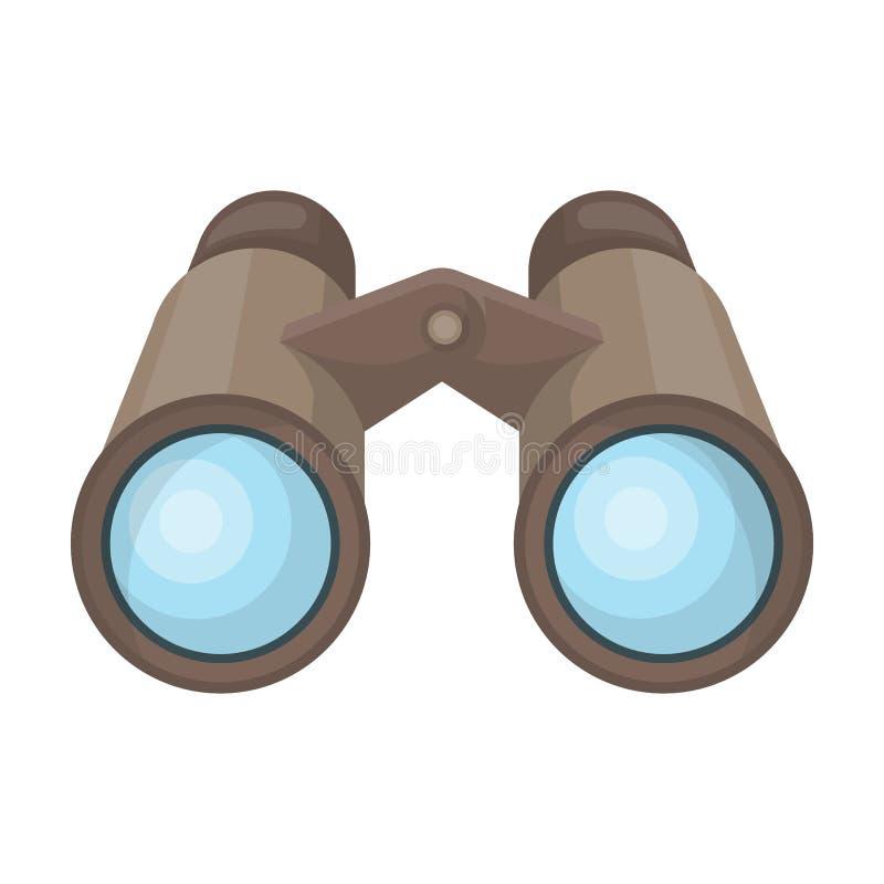 Binóculos para a observação Único ícone do safari africano na Web da ilustração do estoque do símbolo do vetor do estilo dos dese ilustração stock