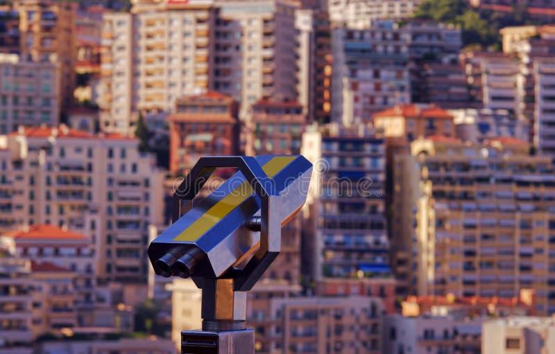 Binóculos para a opinião dos turistas Monte - Carlo fotografia de stock royalty free