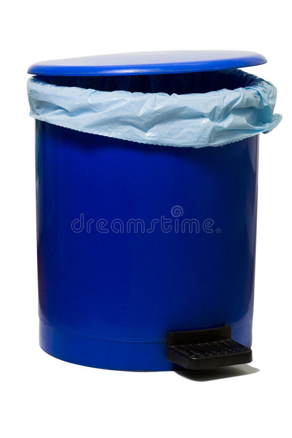 Bin. Blue empty bin with a plastic bag isolated against white background stock image