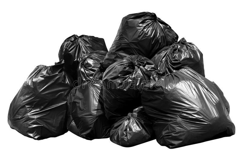Bin bag garbage, Bin,Trash, Garbage, Rubbish, Plastic Bags pile isolated on background white. Garbage bin bag, Bin,Trash, Garbage, Rubbish, Plastic Bags pile royalty free stock images