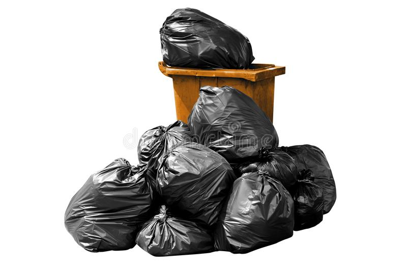 Bin bag garbage orange, Bin,Trash, Garbage, Rubbish, Plastic Bags pile isolated on background white stock photos