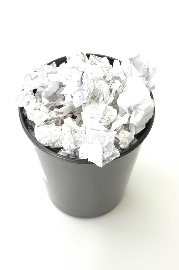 Download Bin filled with paper stock image. Image of trash, paper - 861863